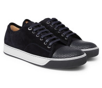 Dbb1 Cap-toe Suede And Textured-leather Sneakers - Navy