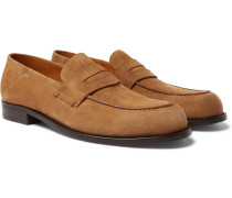 Dennis Collapsible-heel Suede Loafers - Brown