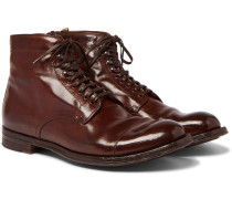 Anatomia Burnished-leather Derby Boots - Dark brown