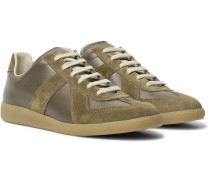 Replica Leather And Suede Sneakers - Army green