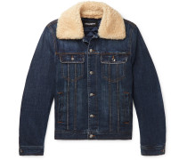 Slim-Fit Shearling-Trimmed Denim Trucker Jacket