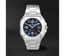 BR 05 Blue Steel Automatic 40mm Satin-Polished Stainless Steel Watch, Ref. No. BR05A-BLU-ST/SST