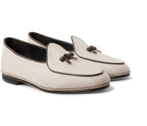 Marphy Leather And Suede-trimmed Linen Loafers