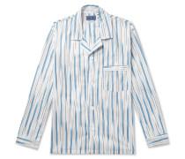 Camp-Collar Striped Cotton-Twill Shirt