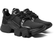 Jaw Neoprene, Suede, Leather And Mesh Sneakers - Black