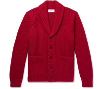 Oversized Shawl-Collar Ribbed Wool and Cashmere-Blend Cardigan