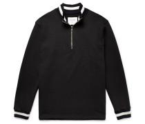 Stripe-trimmed Loopback Cotton-jersey Half-zip Sweatshirt