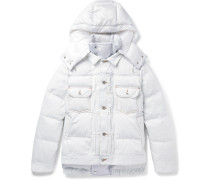 Quilted Denim and Shell Hooded Down Jacket