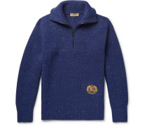 Logo-embroidered Wool-blend Half-zip Sweater