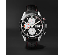 Carrera Automatic Chronograph 41mm Steel And Leather Watch - Black
