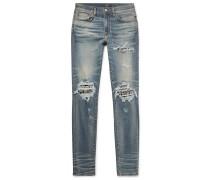 Skinny-fit Crystal-embellished Panelled Distressed Stretch-denim Jeans