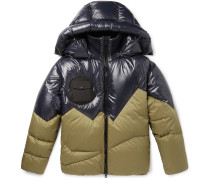 2 Moncler 1952 Two-tone Quilted Shell Hooded Down Jacket - Navy