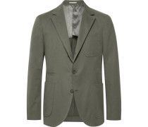 Army-green Slim-fit Stretch Cotton And Cashmere-blend Suit Jacket - Army green