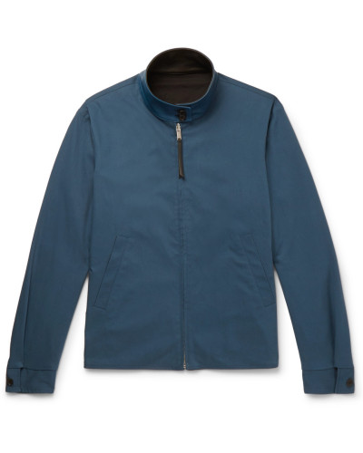 Reversible Leather-trimmed Stretch Cotton-blend Blouson Jacket - Blue