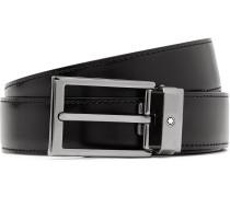 3cm Black Leather Belt - Black
