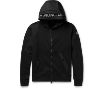 Shell-trimmed Fleece-back Cotton-jersey Hoodie - Black