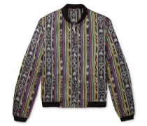 Reversible Ikat Cotton And Silk-blend Jacquard Bomber Jacket