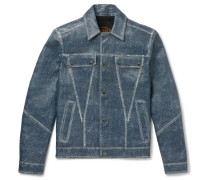 City Denim-effect Leather Jacket