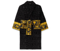 Poplin-panelled Logo-jacquard Cotton-terry Robe - Black