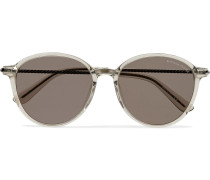 Round-Frame Acetate and Gunmetal-Tone Sunglasses