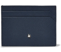 Sartorial Two-tone Cross-grain Leather Cardholder - Blue