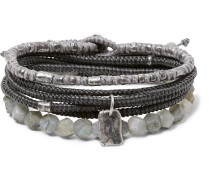 The Create Stack Ii Sterling Silver And Labradorite Bracelet Set - Black
