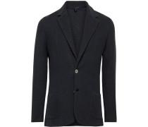 Midnight-Blue Slim-Fit Linen and Silk-Blend Blazer