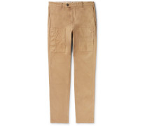 Slim-fit Garment-dyed Stretch-cotton Cargo Trousers - Camel