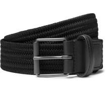 3cm Black Leather-Trimmed Woven Elastic Belt