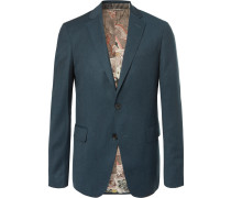 Petrol Slim-fit Mélange Stretch Wool-blend Suit Jacket - Petrol