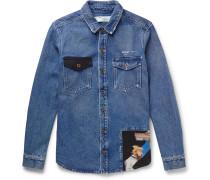 Cotton-panelled Distressed Denim Western Shirt - Indigo