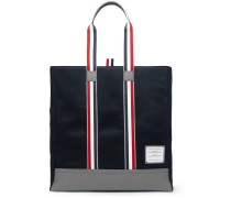 Leather-trimmed Canvas Tote Bag - Navy