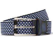 3cm Leather-trimmed Woven Cotton Belt