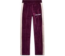 Slim-fit Logo-print Webbing-trimmed Cotton-blend Velvet Sweatpants