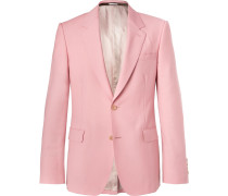 Pink Slim-fit Wool And Mohair-blend Suit Jacket - Pink