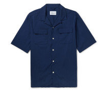 Camp-Collar Cotton-Blend Seersucker Shirt
