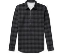 Cotton-flannel Half-placket Shirt - Dark gray