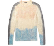 Slim-fit Tie-dyed Silk And Linen-blend Sweater - White