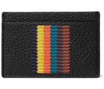 Embroidered Striped Full-grain Leather Cardholder - Black