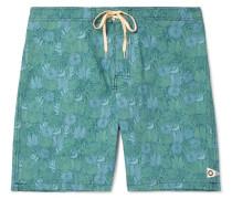 Long-length Printed Cotton-blend Swim Shorts