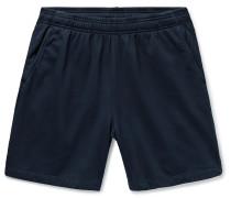 Slim-Fit Garment-Dyed Fleece-Back Supima Cotton-Jersey Drawstring Shorts