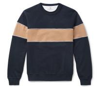 Striped Cotton-blend Jersey Sweatshirt - Navy