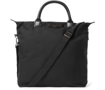 O'hare Leather-trimmed Organic Cotton-canvas Tote Bag - Black
