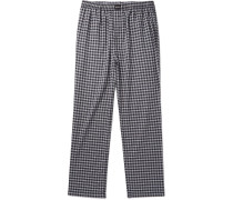 Wide-leg Checked Cotton Drawstring Trousers