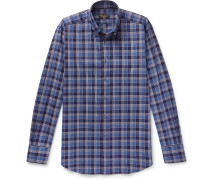 Button-down Checked Brushed-cotton Shirt - Navy