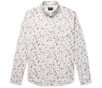 Button-down Collar Double-faced Floral-print Cotton Shirt
