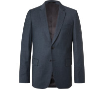 Blue Slim-Fit Wool and Cashmere-Blend Flannel Suit Jacket