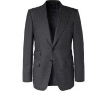 Navy Shelton Slim-Fit Puppytooth Wool Suit Jacket