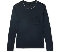 Contrast-tipped Cotton And Modal-blend T-shirt
