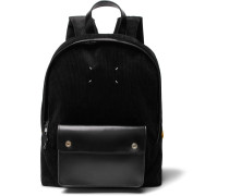 Leather-trimmed Corduroy Backpack